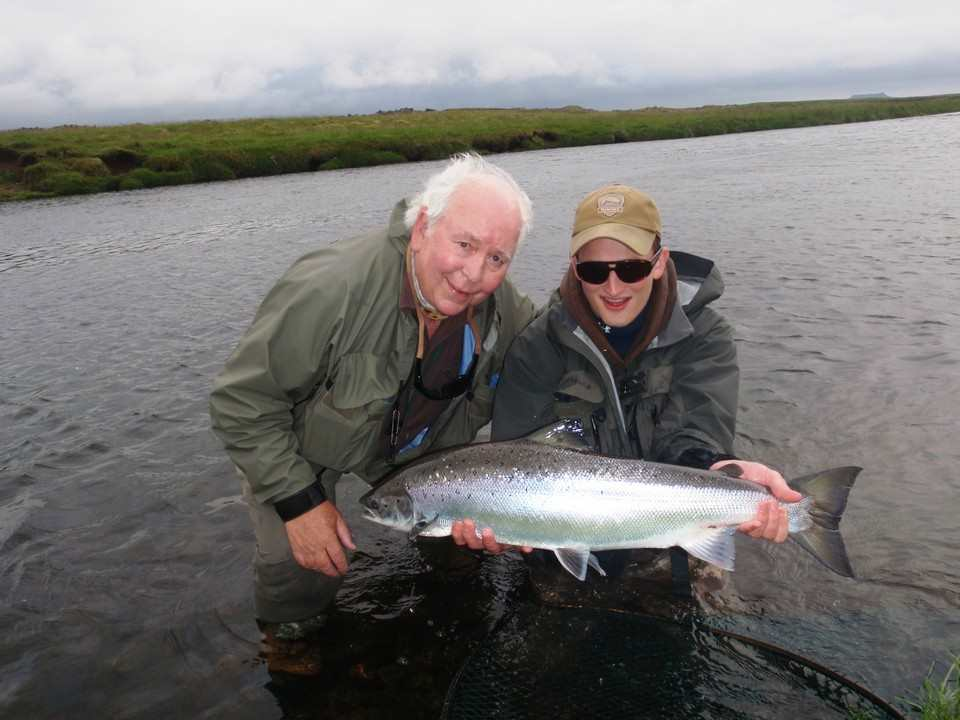 John Hotchkiss with a fresh 20lb Icelandic salmon June 2013