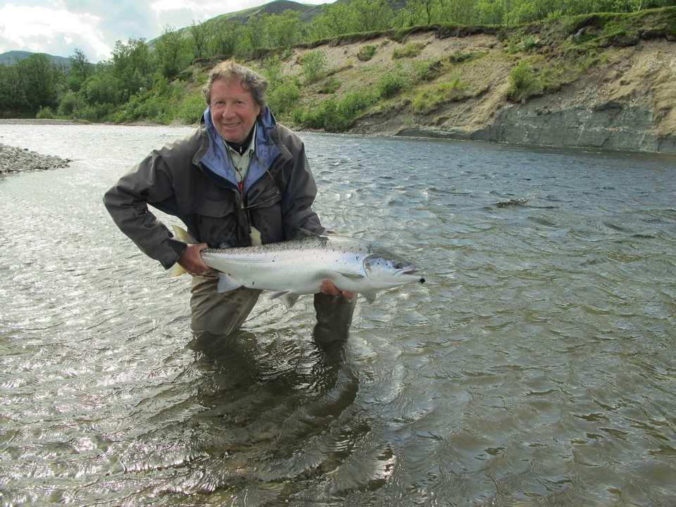 Neil Patterson with his 26lb salmon river Lakselv Norway July 2012