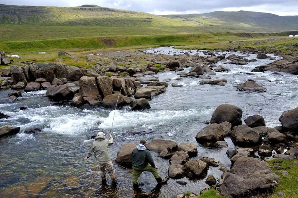 Riffle Hitching an upper pool on Laxain Dolum Iceland