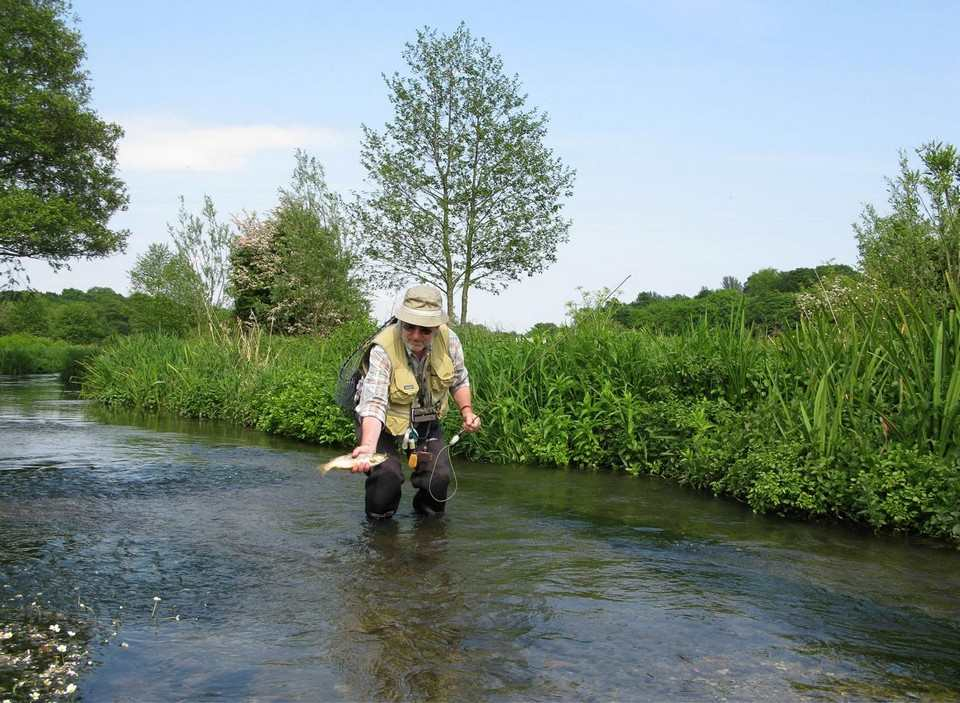 Chris Sandford returning a wild trout on the Meon