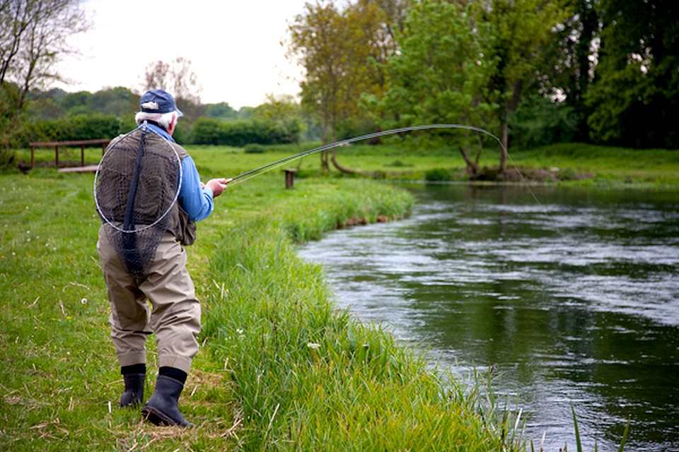 Into a strong trout on the Itchen
