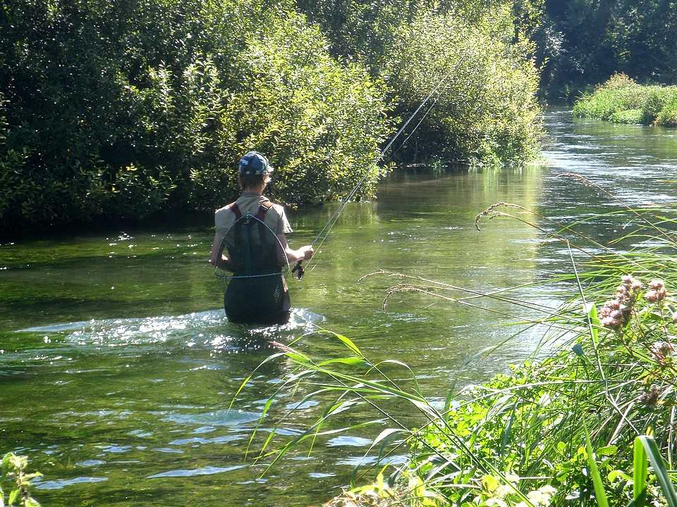 Young angler fishing the upper Itchen